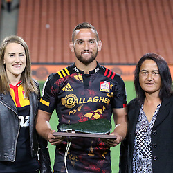 Chiefs' first five Aaron Cruden, his partner Grace King and his mother Missy Cruden during the Investec Super  Rugby match between the Chiefs and Blues at FMG Waikato Stadium in Hamilton, New Zealand on Friday 3 March 2017. Photo: Dion Mellow / lintottphoto.co.nz