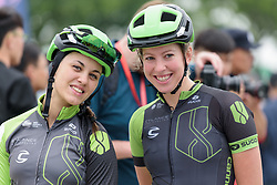 Rachele Barbieri & Willeke Knol wait to be called to the stage at Tour of Chongming Island - Stage 1. A 118.8km road race on Chongming Island, China on 5th May 2017.
