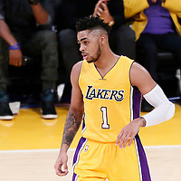 26 October 2016: Los Angeles Lakers guard D'Angelo Russell (1) is seen during the Los Angeles Lakers 120-114 victory over the Houston Rockets, at the Staples Center, Los Angeles, California, USA.