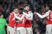 Olivier Giroud (Arsenal) celebrates with Theo Walcott (Arsenal) after Theo Walcott (Arsenal) scores for Arsenal during the FA Cup fifth round match between Hull City and Arsenal at the KC Stadium, Kingston upon Hull, England on 8 March 2016. Photo by Mark P Doherty.