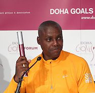 Picture by Paul Terry/Focus Images Ltd. 07545642257.31/07/12 .Carl Lewis speaks during a press conference to announce the Doha GOALS Forum. GOALS is a  new initiative with the aim to build a community of hundreds of leaders from around the world who share the conviction that sport is a crucial vehicle for social and economic development.