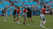 Carolina Panthers quarterbacks Cam Newton (1),Kyle Allen (7),Taylor Heinicke (6),Will Grier (3) warming up during Fan Fest at Bank of America Stadium, Friday, Aug. 2, 2019, in Charlotte, NC. (Brian Villanueva/Image of Sport)
