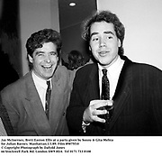 Jay McInerney, Brett Easton Ellis at a party given by Sonny &amp; Gita Mehta for Julian Barnes. Manhattan.1/1/89. Film 89875f10<br /> &copy; Copyright Photograph by Dafydd Jones<br /> 66 Stockwell Park Rd. London SW9 0DA<br /> Tel 0171 733 0108