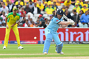 Eoin Morgan of England plays an attacking shot during the ICC Cricket World Cup 2019 semi final match between Australia and England at Edgbaston, Birmingham, United Kingdom on 11 July 2019.