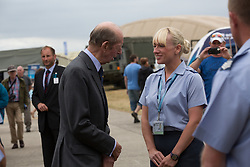© Licensed to London News Pictures. 19/07/2015. RAF Fairford, UK.HRH Duke of Kent meets members of the Royal Air Force at The Royal International Air Tattoo (RIAT). Photo credit : Ian Schofield/LNP