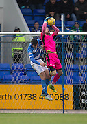 Dundee keeper Scott Bain clutches the ball under pressure from St Johnstone&rsquo;s Joe Shaughnessy - St Johnstone v Dundee, Ladbrokes Scottish Premiership at McDiarmid Park, Perth. Photo: David Young<br /> <br />  - &copy; David Young - www.davidyoungphoto.co.uk - email: davidyoungphoto@gmail.com