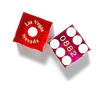 Casino dice on white background