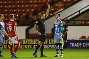 Forest Green Rovers Aaron Collins(10) is shown a red card, sent off during the EFL Trophy match between Walsall and Forest Green Rovers at the Banks's Stadium, Walsall, England on 12 November 2019.