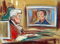 ©PRISCILLA COLEMAN ITV NEWS 06.11.03..SUPPLIED BY: PHOTONEWS SERVICE LTD OLD BAILEY..PIC SHOWS: JUSTICE MOSES WATCHING A TV INTERVIEW WITH IAN HUNTLEY AT THE TIME OF THE SEARCH FOR HOLLY WELLS AND JESSICA CHAPMAN. THE INTERVIEW WAS PLAYED TODAY DURING THE TRIAL OF IAN HUNTLEY AND MAXINE CARR FOR THEIR RESPECTIVE PARTS IN THE MURDERS OF JESSICA CHAPMAN AND HOLLY WELLS-SEE STORY..ILLUSTRATION: PRISCILLA COLEMAN ITV NEWS