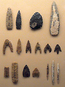Fayum, Egypt flint tools, arrow heads, knives, and sickle blades. These early examples of agricultural based settlements in Egypt date from 4000 BC