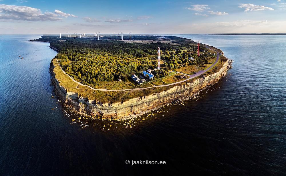 Pakri peninsula, limestone clint outcrop in Estonia. Coastline, cliff, steep bank, lighthouse at Baltic sea.