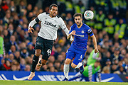 Derby County midfielder Tom Huddlestone (44) battles with Chelsea midfielder Cesc Fabregas (4) during the EFL Cup 4th round match between Chelsea and Derby County at Stamford Bridge, London, England on 31 October 2018.