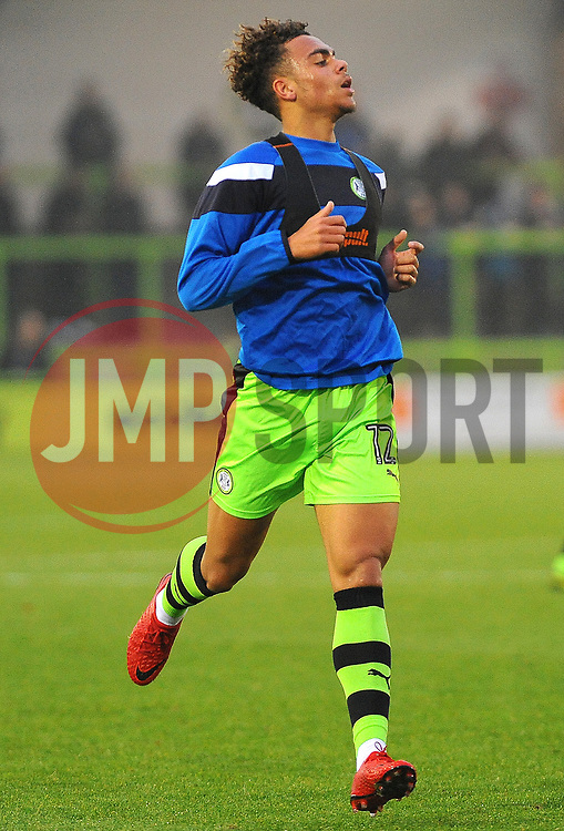 Jordan Simpson of Forest Green Rovers warms up-Mandatory by-line: Nizaam Jones/JMP - 18/11/2017 - FOOTBALL - New Lawn Stadium - Nailsworth, England - Forest Green Rovers v Crewe Alexandre-Sky Bet League Two