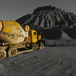 A lone cement truck in the desert of Utah.