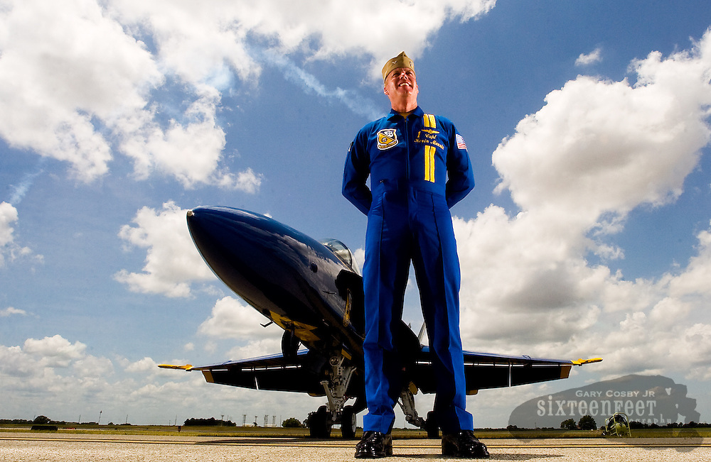 Photo by Gary Cosby Jr.  Captain Kevin Mannix is the leader of the Blue Angels squadron which will be performing at the air show at the Huntsville International Airport Saturday.