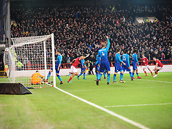 FORESTS ERIC LICHAJ CELEBRATES AFTER SCORING FORESTS FIRST GOAL,  Nottingham Forest v Arsenal Emirates FA Cup Third Round, City Ground Sunday 7th January 2018