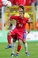 Fotball<br /> Landskamp Brasil v Tyrkia<br /> 05.06.2007<br /> Foto: Witters/Digitalsport<br /> NORWAY ONLY<br /> <br /> v.l. Tugay, Edmilson Brasilien<br /> Fussball Testspiel Brasilien - Tuerkei