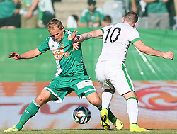06.07.2014, Gerhard Hanappi Stadion, Wien, AUT, Testspiel, SK Rapid Wien vs Celtic FC, im Bild Anthony Stokes, (Celtic FC, #10) und Mario Sonnleitner, (SK Rapid Wien, #6) // during a Austrian Bundesliga Football test match between SK Rapid Vienna and Celtic FC at the Gerhard Hanappi Stadion, Wien, Austria on 2014/07/06. EXPA Pictures © 2014, PhotoCredit: EXPA/ Thomas Haumer