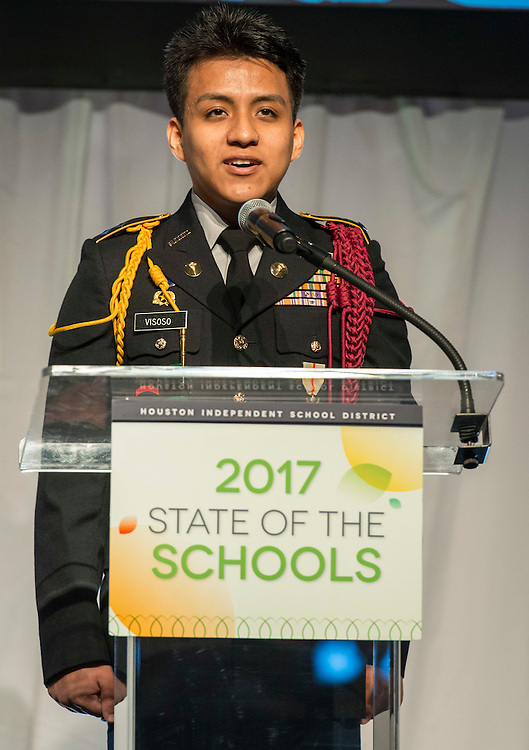 Wisdom High School JROTC's Trint Conrod delivers the pledge during the State of the Schools luncheon at the Hilton of the Americas, February 15, 2017.