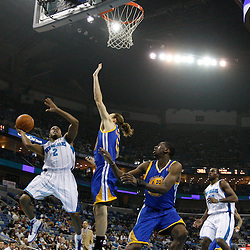 January 5, 2011; New Orleans, LA, USA; New Orleans Hornets point guard Jarrett Jack (2) shoots over Golden State Warriors center Louis Amundson (19) during the first quarter at the New Orleans Arena.   Mandatory Credit: Derick E. Hingle