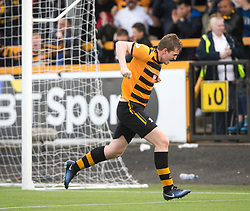 Alloa Athletic's Dylan Mackin cele scoring their fourth goal. Athletic 4 v 3 Brechin City (Brechin won 5-4 on penalties), Ladbrokes Championship Play-Off 2nd Leg at Alloa Athletic's home ground, Recreation Park, Alloa.