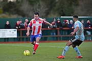 Dorking Wanderers Matt Briggs in action during the Ryman League - Div One South match between Dorking Wanderers and Lewes FC at Westhumble Playing Fields, Dorking, United Kingdom on 28 January 2017. Photo by Jon Bromley.