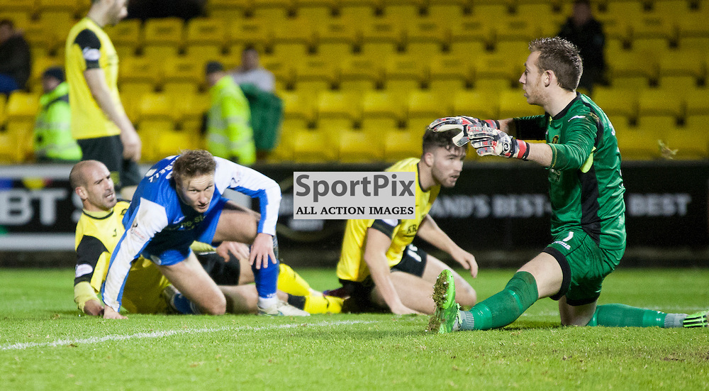 Livingston v Queen of the South, Scottish Championship, 2 January 2016, Iain Russell (Queen of the South, 11) scores during the Livingston v Queen of the South Scottish Championship match played at the Toni Macaroni Arena, © Chris Johnston | SportPix.org.uk