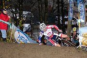 Belgium, Sunday 13th December 2015: The first rider up the steep muddy climb fell at the top on the first lap of the Hansgrohe Superprestige cyclocross elite men's race at Spa Francorchamps.<br />