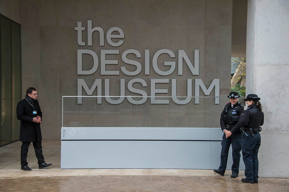 The new entrance is guarded by police and security - The Duke of Edinburgh opens the new Design Museum in Kensington. The Design Museum has moved to Kensington High Street from its former home as an established London landmark on the banks of the river Thames.  The new museum will be devoted to contemporary design and architecture, an international showcase for the many design skills at which Britain excels and a creative centre, promoting innovation and nurturing the next generation of design talent. His Royal Highness toured the museum to view the transformation of a modernist building from the 1960s, which was the former Commonwealth Institute.  14 November 2016, London.