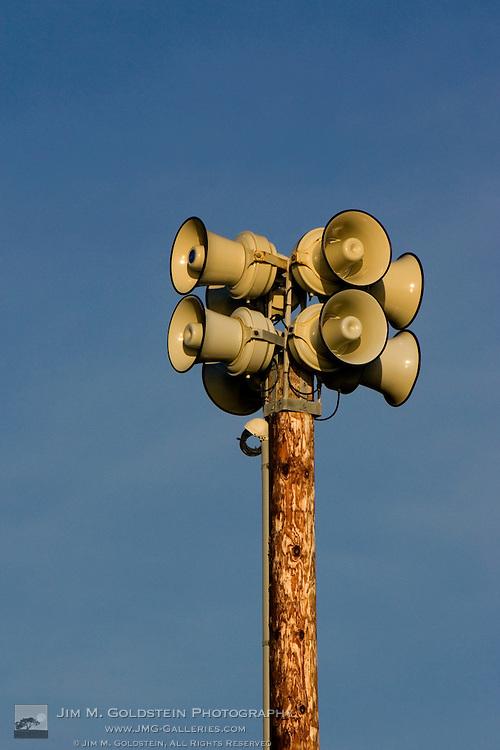 Air raid sirens a top a utility pole in San Francisco, California