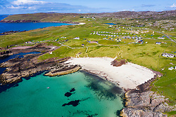 Aerial view of beach at Clachtoll in Sutherland,  Highland Region of Scotland, UK
