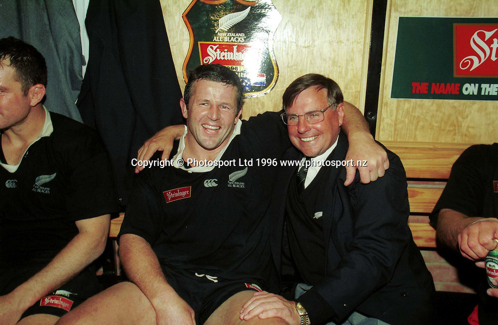 Sean Fitzpatrick and John Hart after a match. All Blacks v South Africa, New Zealand Tour of South Africa, 1996. Photo: PHOTOSPORT