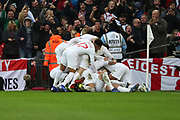 England's Harry Kane celebrating after scoring goal to make it 2-1 during the UEFA Nations League match between England and Croatia at Wembley Stadium, London, England on 18 November 2018.
