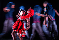Dancers pictured during a dress rehearsal for the Ballet Black production of Triple Bill featuring Red Riding Hood, at the Barbican Theatre in London. Picture date: Thursday March 2nd, 2017. Photo credit should read: Matt Crossick/ EMPICS Entertainment. The show will run from 2nd-4th March at the Barbican, before going on a regional tour.