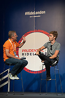Jonathan Dibben (GBR) TEAM SKY talks on stage at The Cycling Show at Excel London. Friday 27th July 2018.<br /> <br /> Photo: Thomas Lovelock for Prudential RideLondon<br /> <br /> Prudential RideLondon is the world's greatest festival of cycling, involving 100,000+ cyclists - from Olympic champions to a free family fun ride - riding in events over closed roads in London and Surrey over the weekend of 28th and 29th July 2018<br /> <br /> See www.PrudentialRideLondon.co.uk for more.<br /> <br /> For further information: media@londonmarathonevents.co.uk