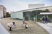 Kanazawa, March 17 2015 - In front of Kanazawa 21st century museum, designed by Japanese architects SANAA.
