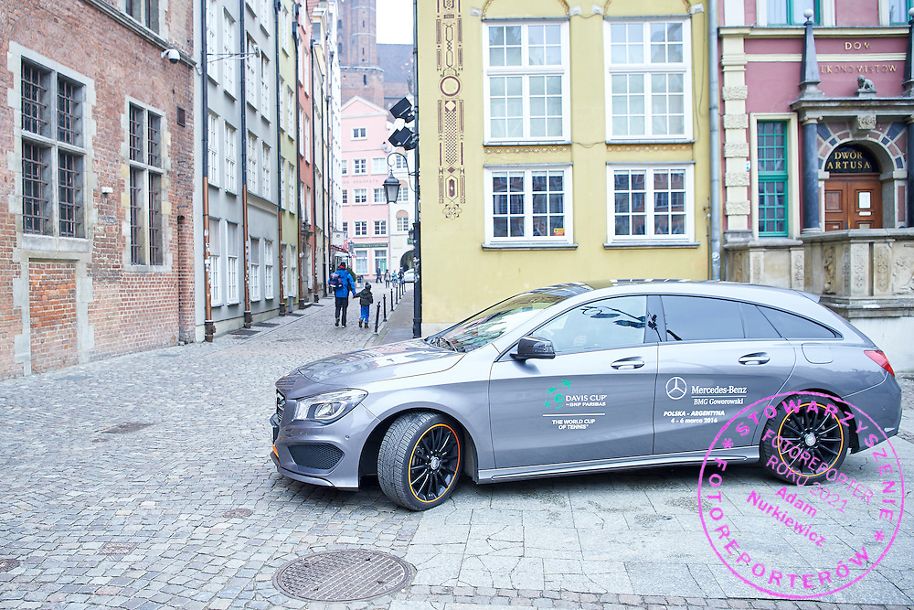GDANSK, POLAND - 2016 MARCH 03: Mercedes Benz official car by BMG Goworowski arrive to City Hall one day before the Davies Cup / World Group 1st round tennis match between Poland and Argentina at Ergo Arena on March 3, 2016 in Gdansk, Poland<br /> <br /> Picture also available in RAW (NEF) or TIFF format on special request.<br /> <br /> Any editorial, commercial or promotional use requires written permission.<br /> <br /> Mandatory credit:<br /> Photo by &copy; Adam Nurkiewicz / Mediasport