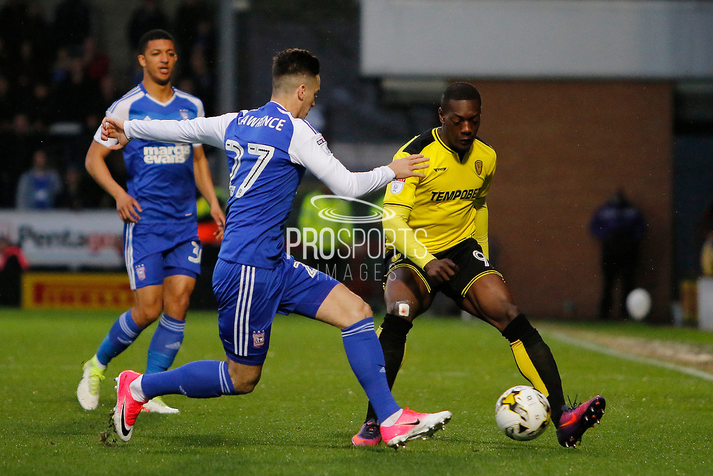Burton Albion striker Marvin Sordell (9) and Ipswich Town striker Tom Lawrence (27) during the EFL Sky Bet Championship match between Burton Albion and Ipswich Town at the Pirelli Stadium, Burton upon Trent, England on 14 April 2017. Photo by Richard Holmes.