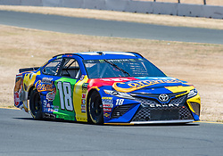 June 22, 2018 - Sonoma, CA, U.S. - SONOMA, CA - JUNE 22:  Kyle Busch, driving the (18) Toyota for Joe Gibbs Racing heads down to turn 9 on Friday, June 22, 2018 at the Toyota/Save Mart 350 Practice day at Sonoma Raceway, Sonoma, CA (Photo by Douglas Stringer/Icon Sportswire) (Credit Image: © Douglas Stringer/Icon SMI via ZUMA Press)