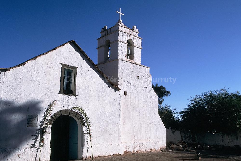 L'EGLISE DU VILLAGE DE SAN PEDRO DE ATACAMA. DESERT DE L'ATACAMA, DANS LES ANDES, AU CHILI./ FRANCE ONLY