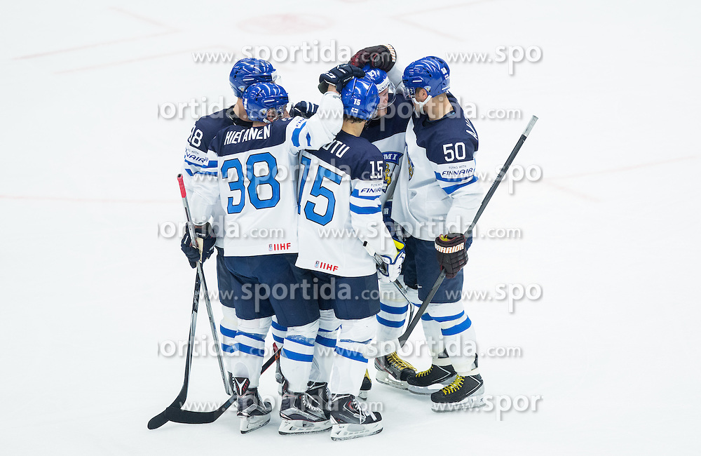 Players of Finland celebrate after scoring second goal during Ice Hockey match between Finland and Slovenia at Day 7 in Group B of 2015 IIHF World Championship, on May 7, 2015 in CEZ Arena, Ostrava, Czech Republic. Photo by Vid Ponikvar / Sportida