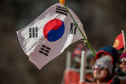 PYEONGCHANG-GUN, SOUTH KOREA - FEBRUARY 18: Supporters of South Korea during the Alpine Skiing Men's Giant Slalom at Yongpyong Alpine Centre on February 18, 2018 in Pyeongchang-gun, South Korea. Photo by Ronald Hoogendoorn / Sportida