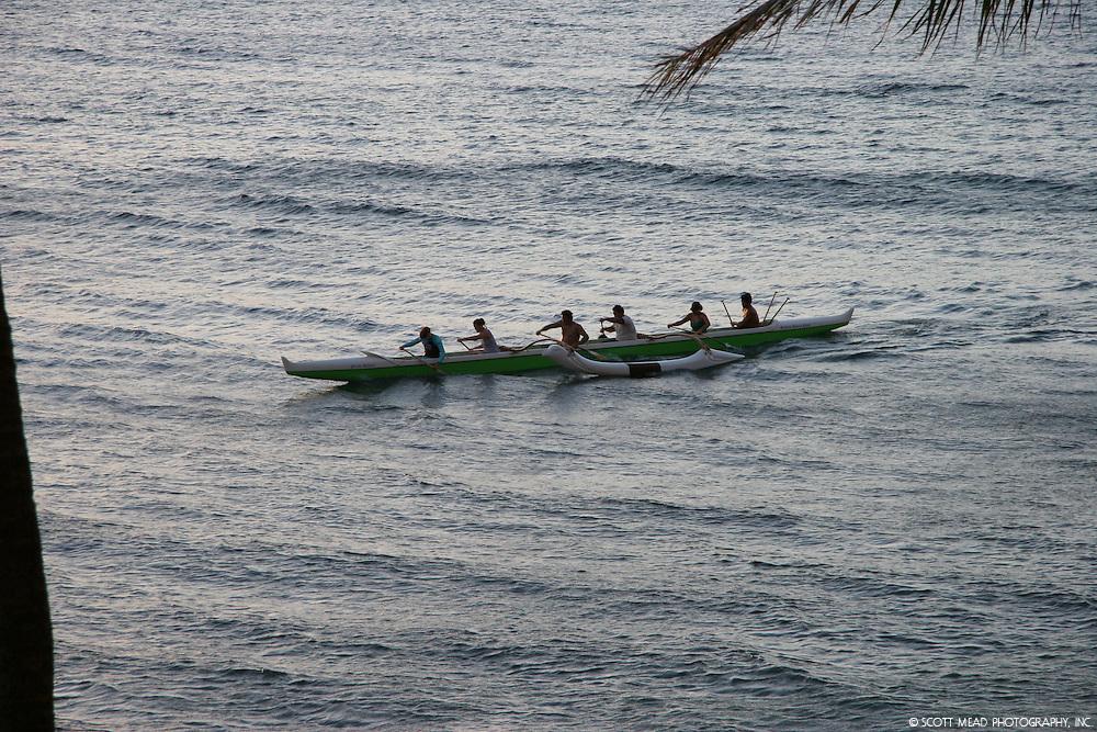 Paddlers of Hawaiian Canoe in Kaanapali, Maui, Hawaii