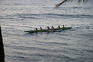 Paddlers of Hawaiian Canoe in Kaanapali, Maui, Hawaii