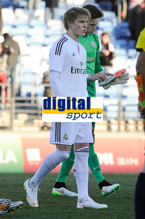 Real Madrid Castilla´s Martin Odegaard and Athletic Club B's Remiro during 2014-15 Spanish Second Division match between Real Madrid Castilla and Athletic Club B at Alfredo Di Stefano stadium in Madrid, Spain. February 08, 2015. (ALTERPHOTOS/Luis Fernandez)