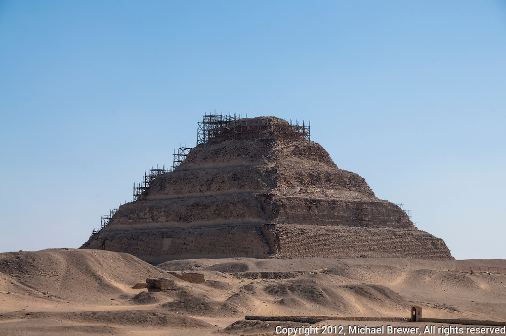 The stepped pyramid at Sakkara, Egypt under reconstruction.