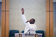 Reverend Marcus Allen preaches during service at Zion Baptist Church in Madison, Wisconsin, Sunday, Feb. 4, 2018.