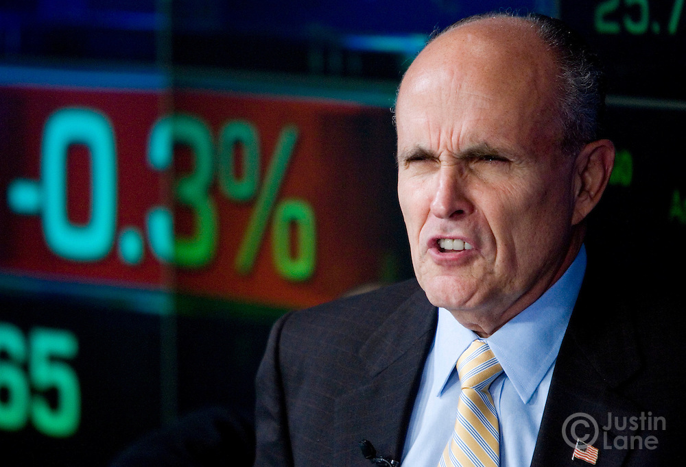 US Presidential candidate Rudolph Giuliani is seen during an interview after ringing the opening bell of the NASDAQ stock exchange in New York, New York on Wednesday 28 March 2007. Following the ringing of the bell, Giuliani held a press conference where Steve Forbes announced that he was endorsing Giuliani's run to be President of the United States.
