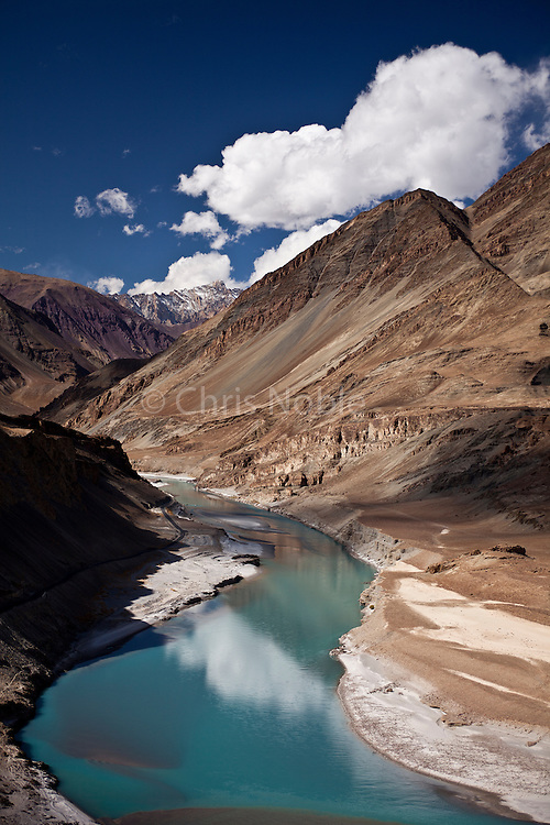 The Zanskar River at it's confluence with the Indus River in India's northern region of Ladakh.