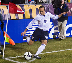 United States midfielder Landon Donovan (10) kicks a corner kick against Mexico.  The United States men's soccer team defeated the Mexican national team 2-0 in CONCACAF final group qualifying for the 2010 World Cup at Columbus Crew Stadium in Columbus, Ohio on February 11, 2009.